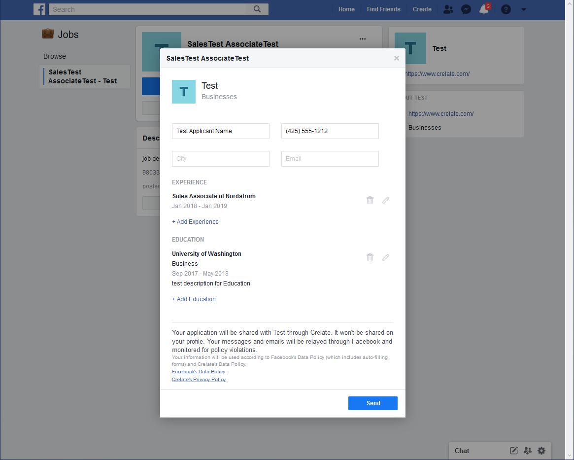 Facebook Job application